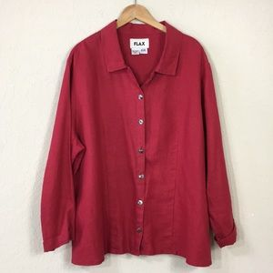 FLAX Red Blouse 100% Line